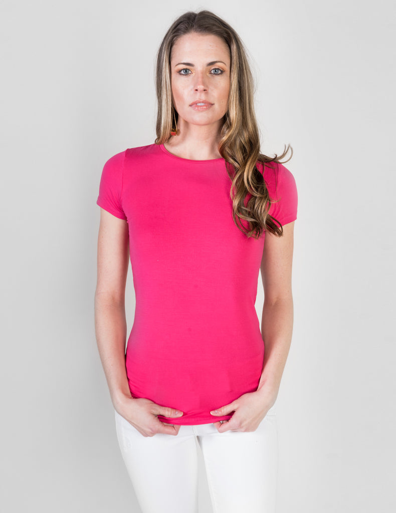 Majestic Short Sleeve Crewneck Tee with Finished Trim in Hot Pink
