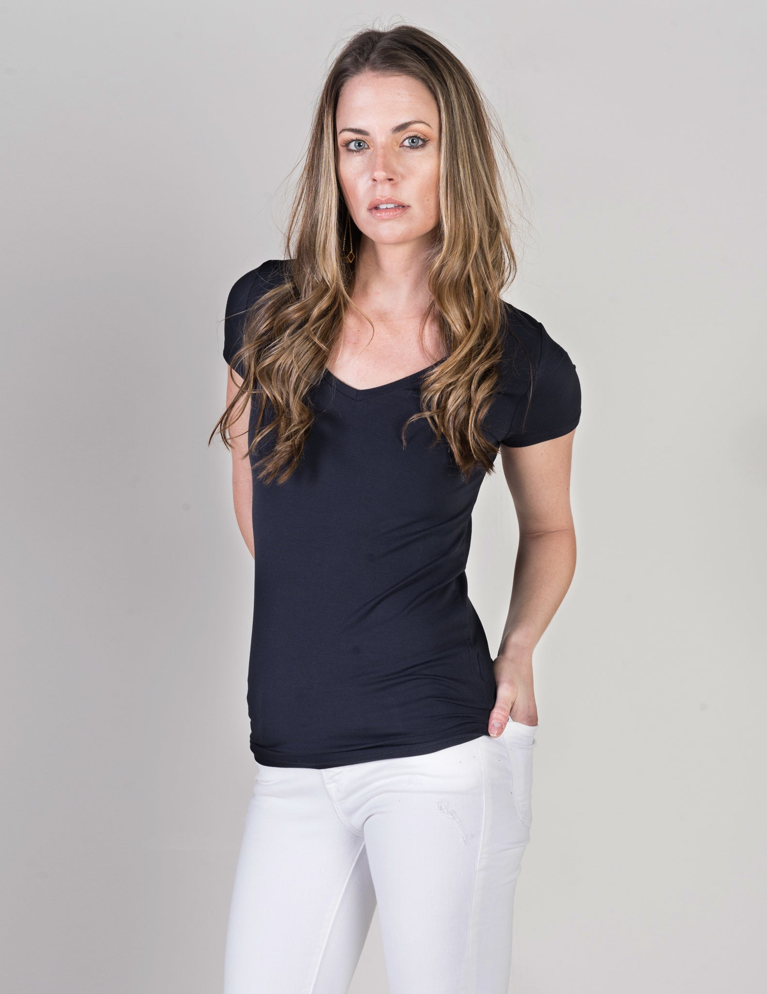 Majestic Short Sleeve V-Neck Tee in Navy
