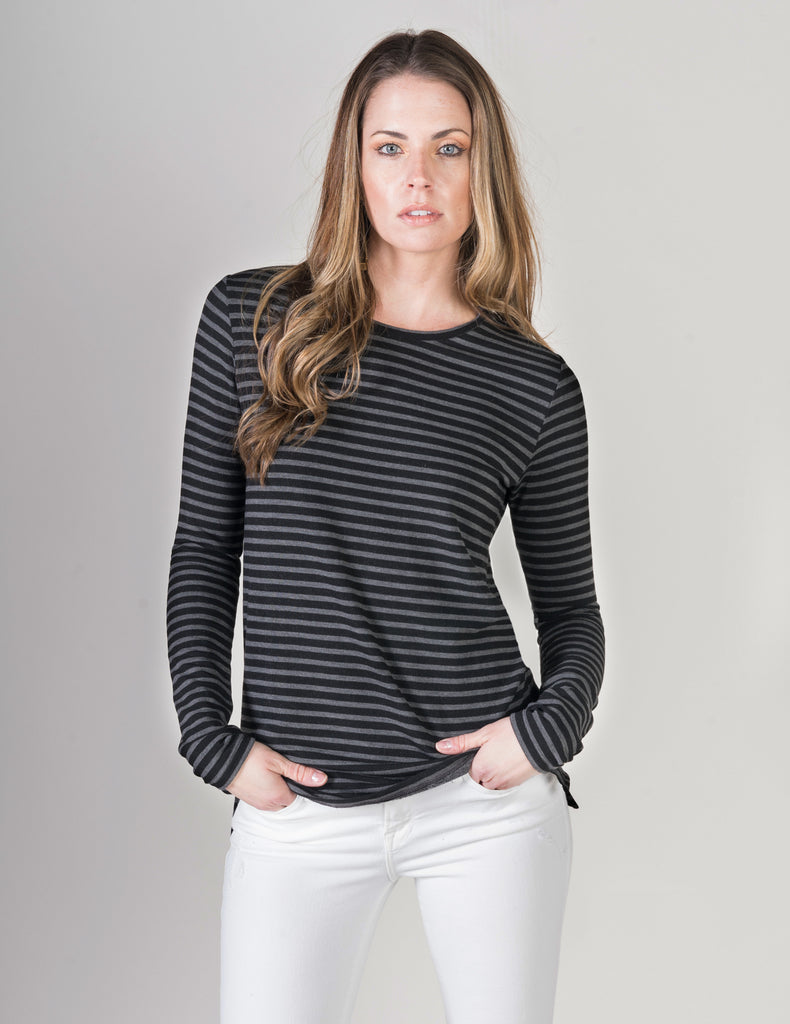 Majestic French Touch L/S Striped Crew Neck in Anthracite/ Black