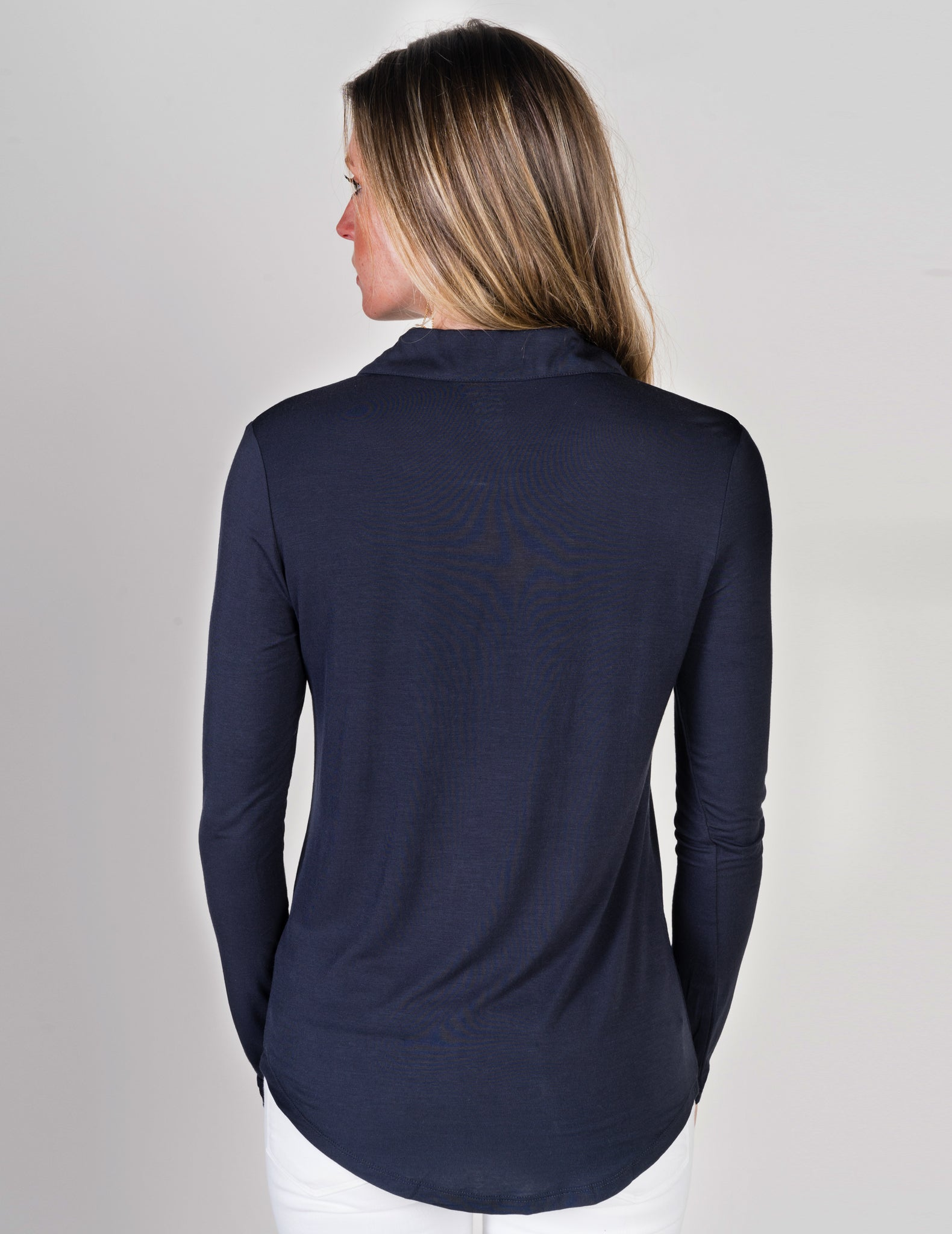 Majestic Long Sleeve Button Chemise in Navy
