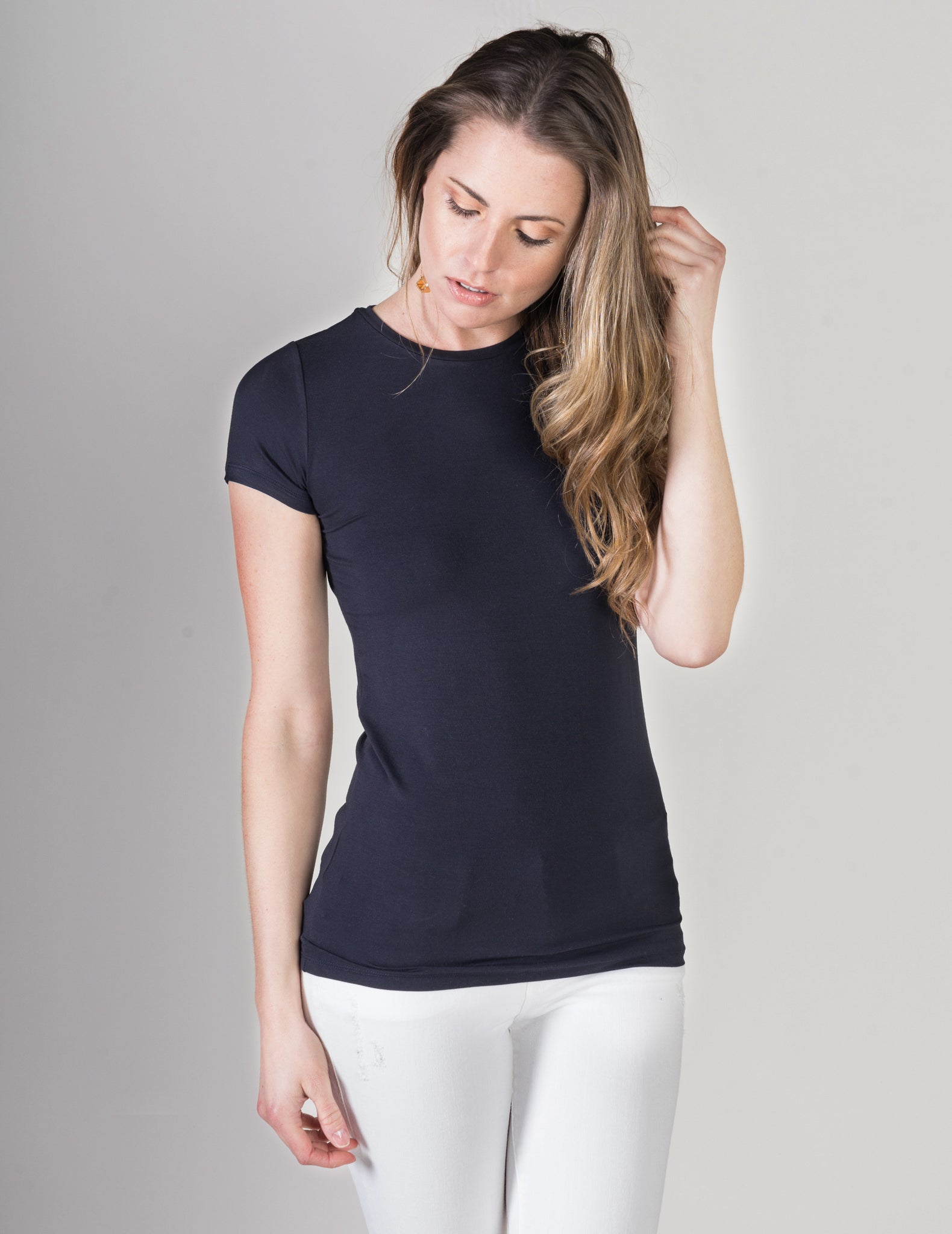 Majestic Short Sleeve Crewneck Tee with Finished Trim in Navy