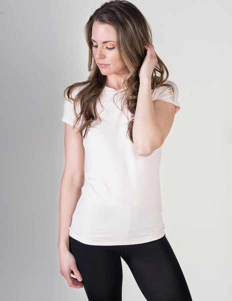 Majestic Short Sleeve Crewneck Tee with Finished Trim in Petal