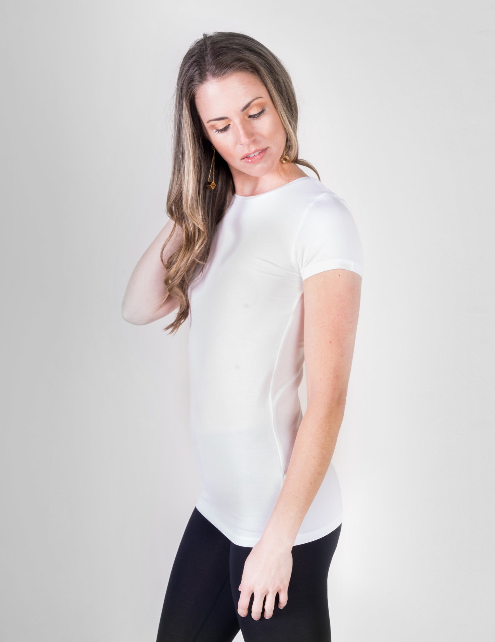 Majestic Short Sleeve Crewneck Tee with Finished Trim in White