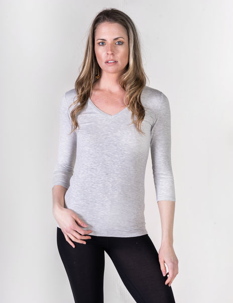 Majestic 3/4 Sleeve V-Neck Tee in Heather Gray