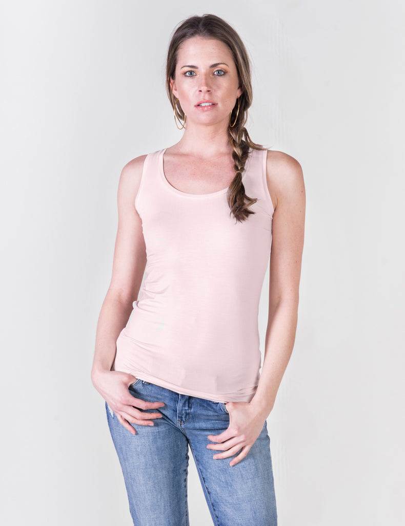 Majestic Flat Edge Scoop Viscose Tank in Petal