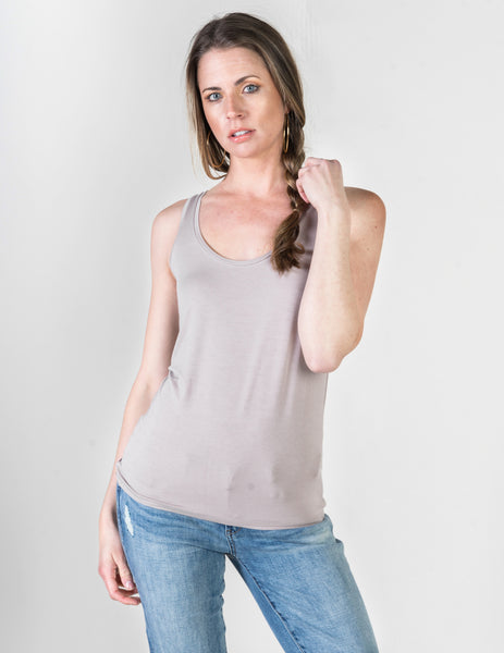 Majestic Flat Edge Scoop Viscose Tank in Stone