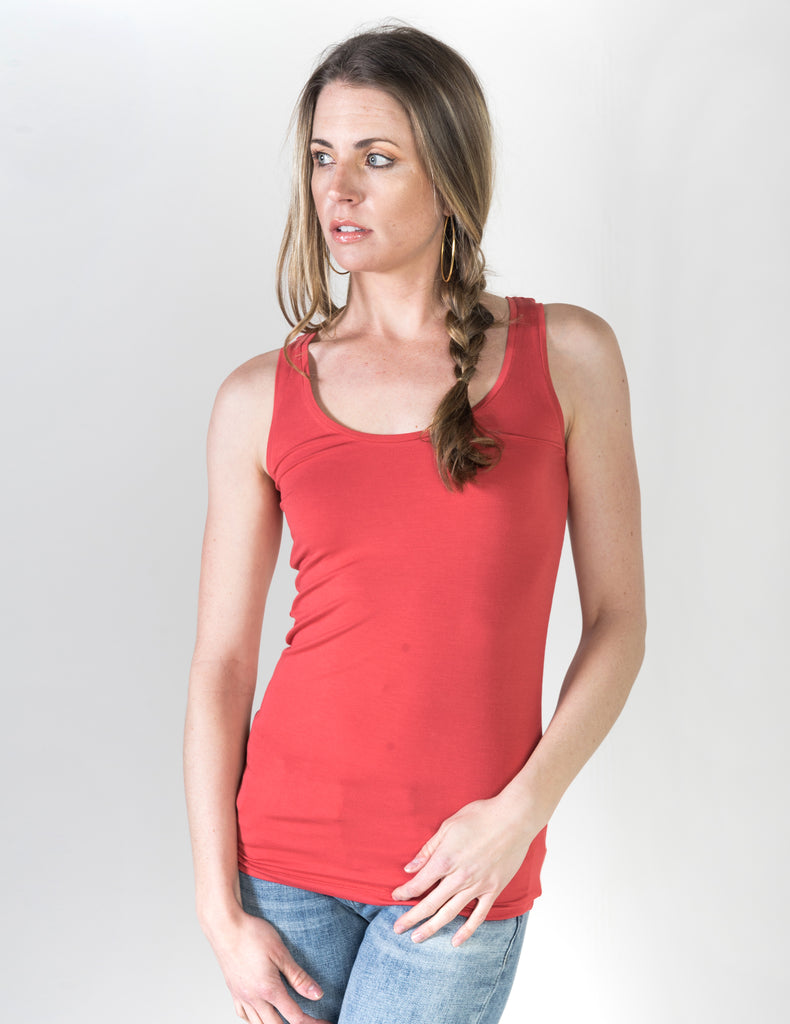 Majestic Flat Edge Scoop Viscose Tank in Cardinal