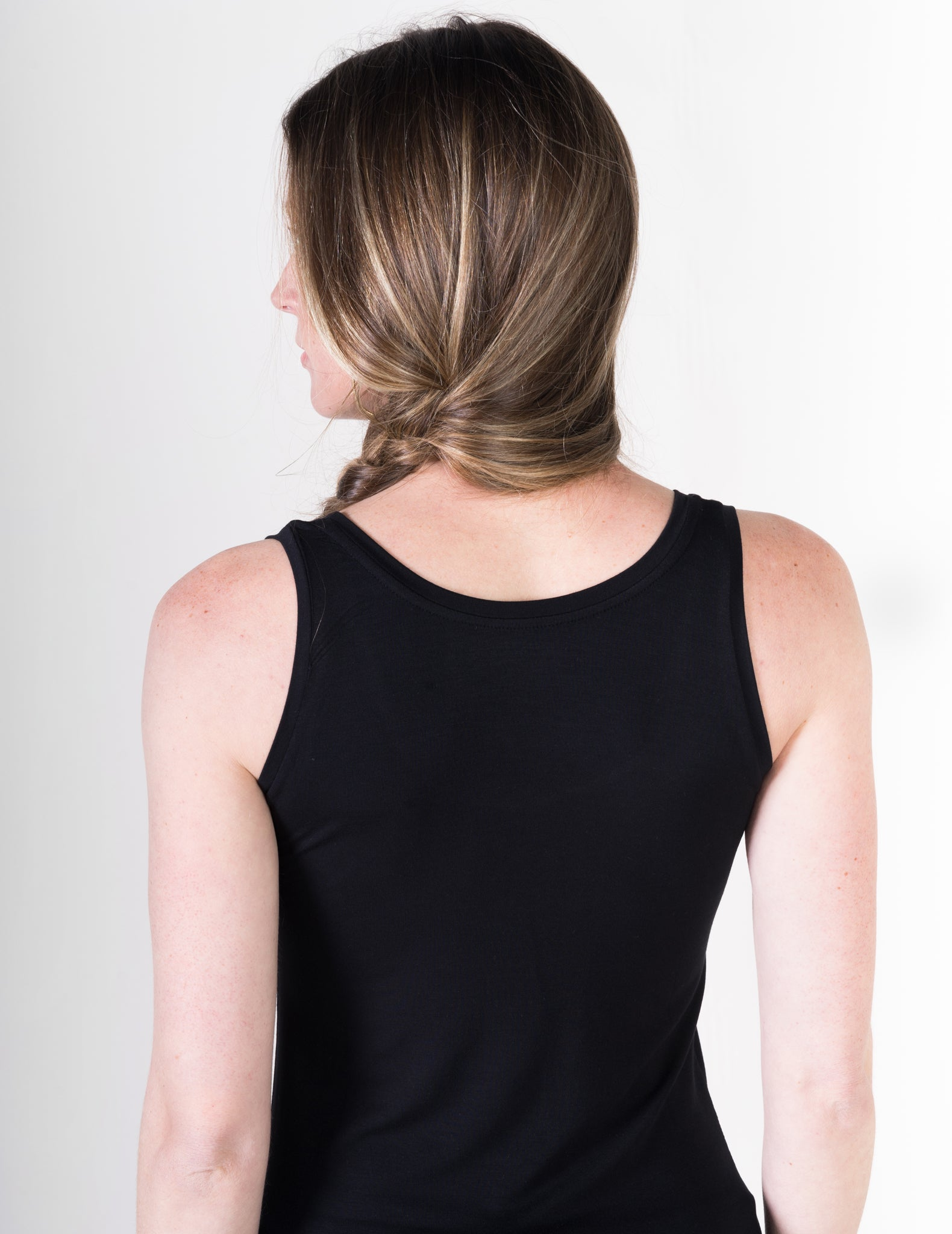 Majestic Flat Edge Scoop Viscose Tank in Black