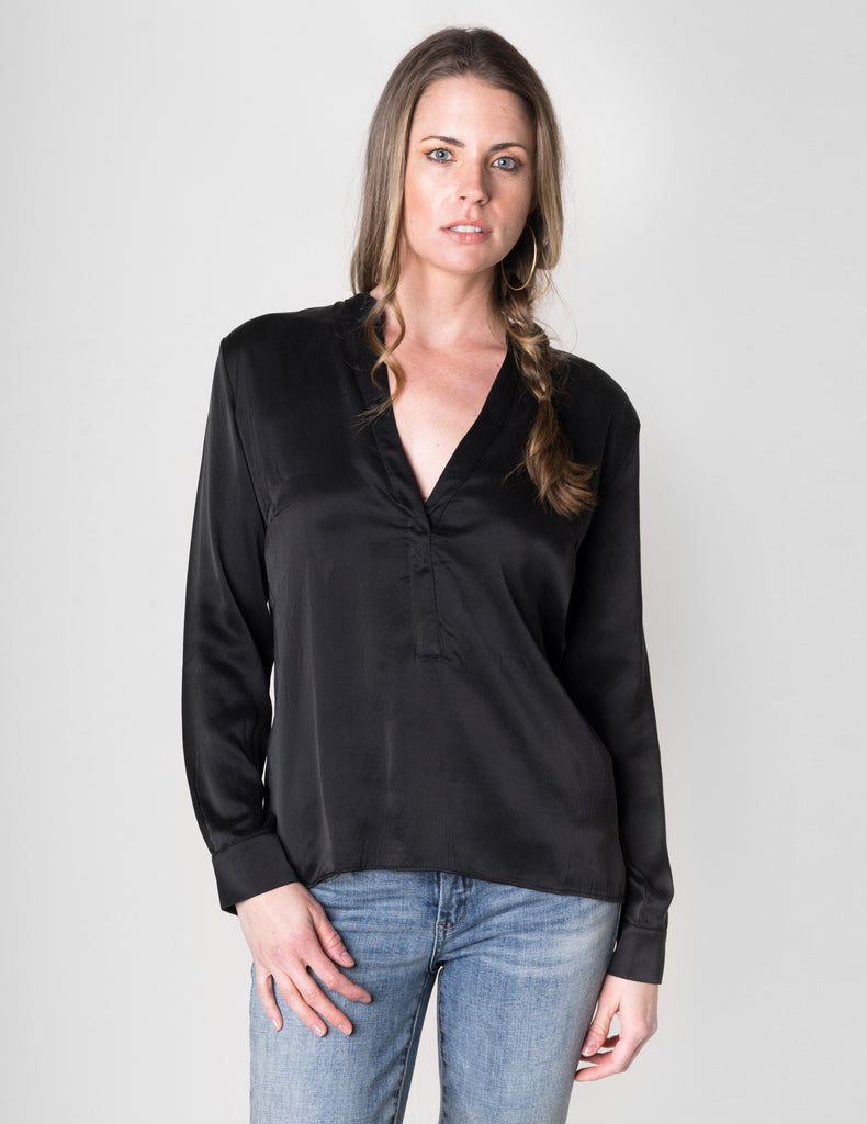 Majestic Long Sleeve Linen Tunic W/ Silk Yoke