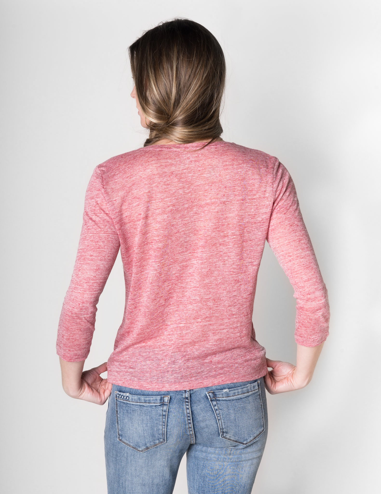 Majestic Linen Cardigan in Rose