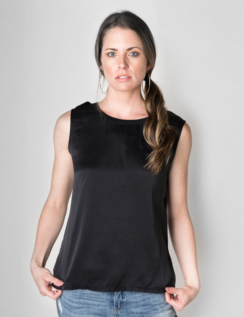 Majestic Sleeveless Silk & Linen Top W/ Back Ruffle