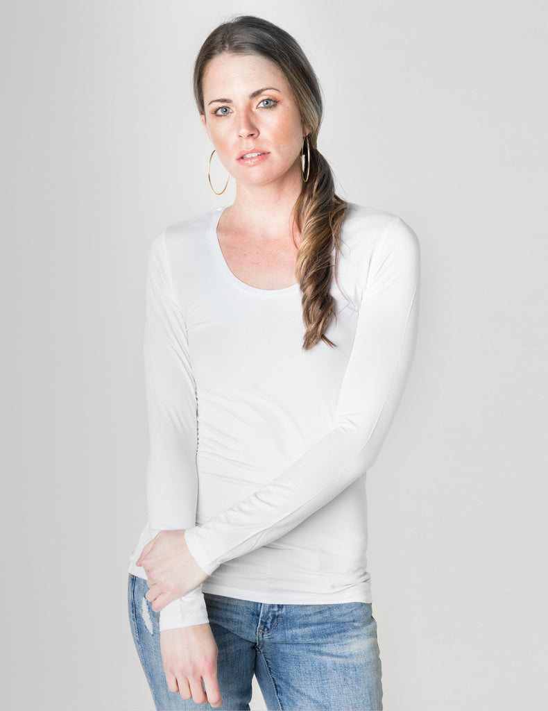 Majestic Long Sleeve Viscose Scoop Neck Tee in White