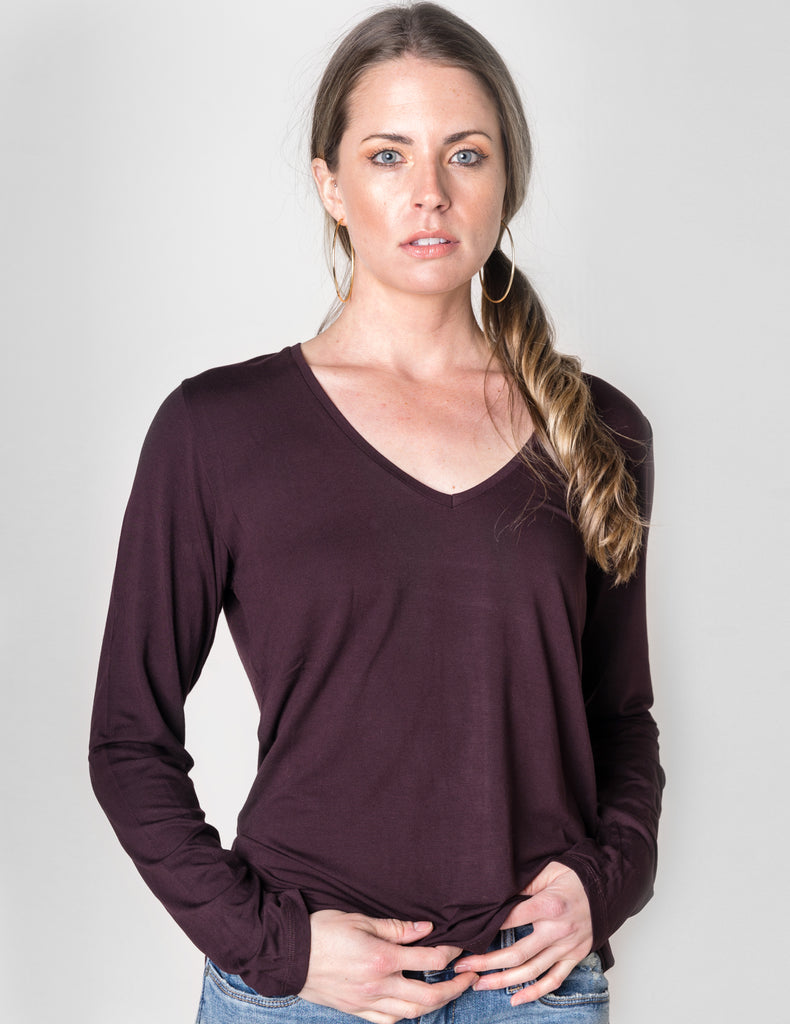 Majestic Long Sleeve Viscose V-Neck Tee in Aubergine