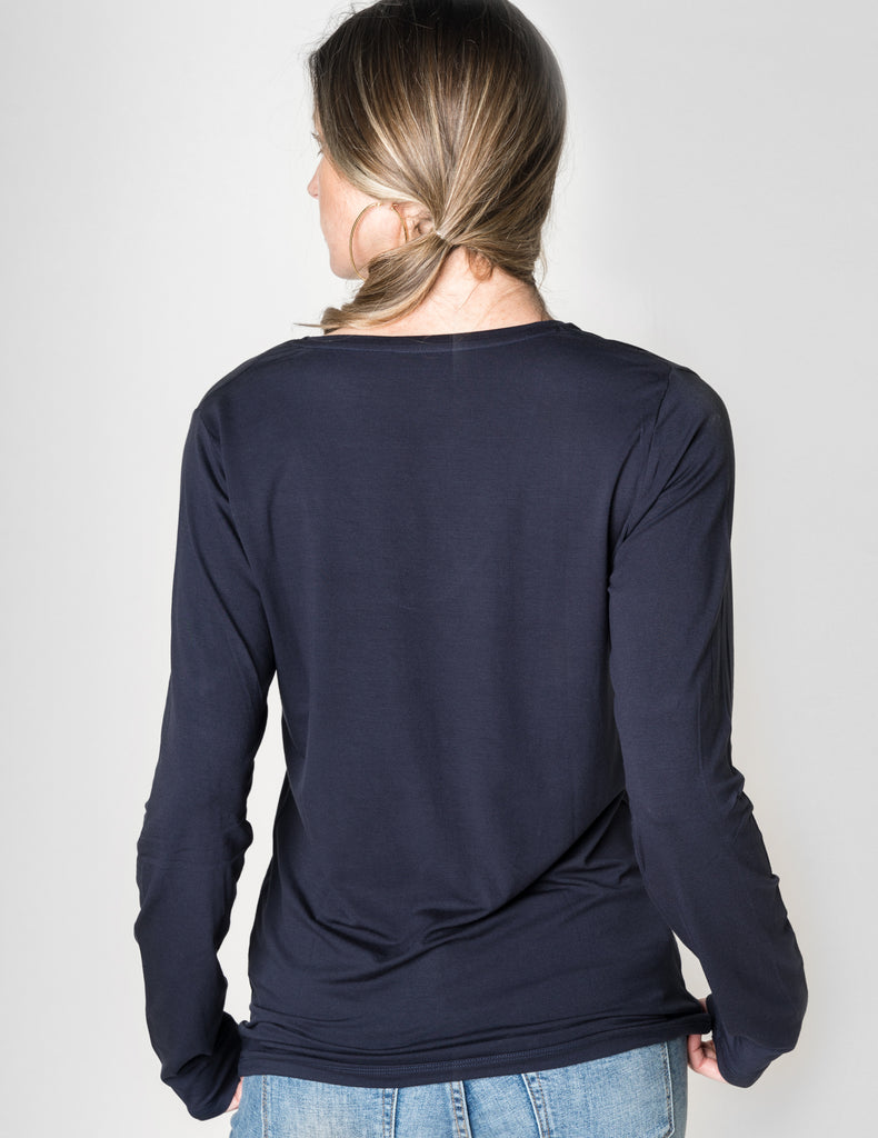 Majestic Long Sleeve Viscose V-Neck Tee in Navy