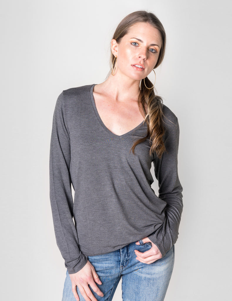 Majestic Long Sleeve Viscose V-Neck Tee in Charcoal