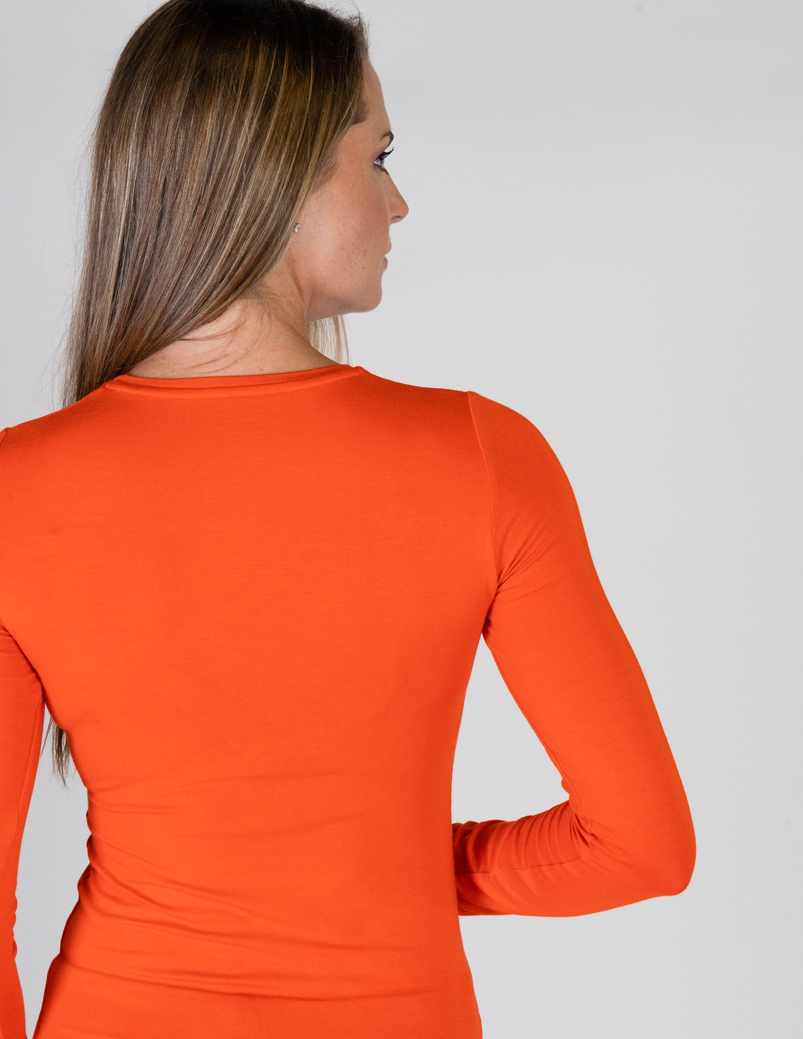 Majestic Long Sleeve Viscose Crewneck in Winter Sunset