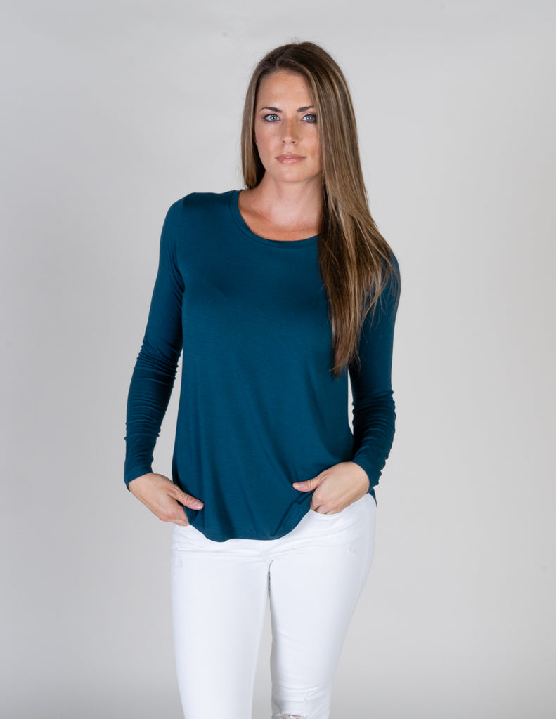 Majestic Long Sleeve Swing Crew in Atlantic Blue