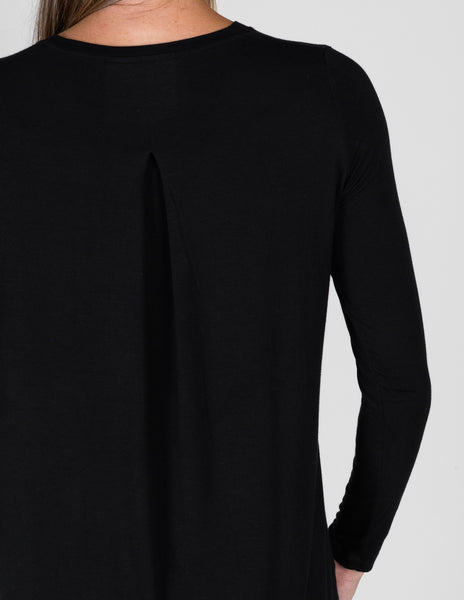 Majestic Long Sleeve Relaxed Crew in Black