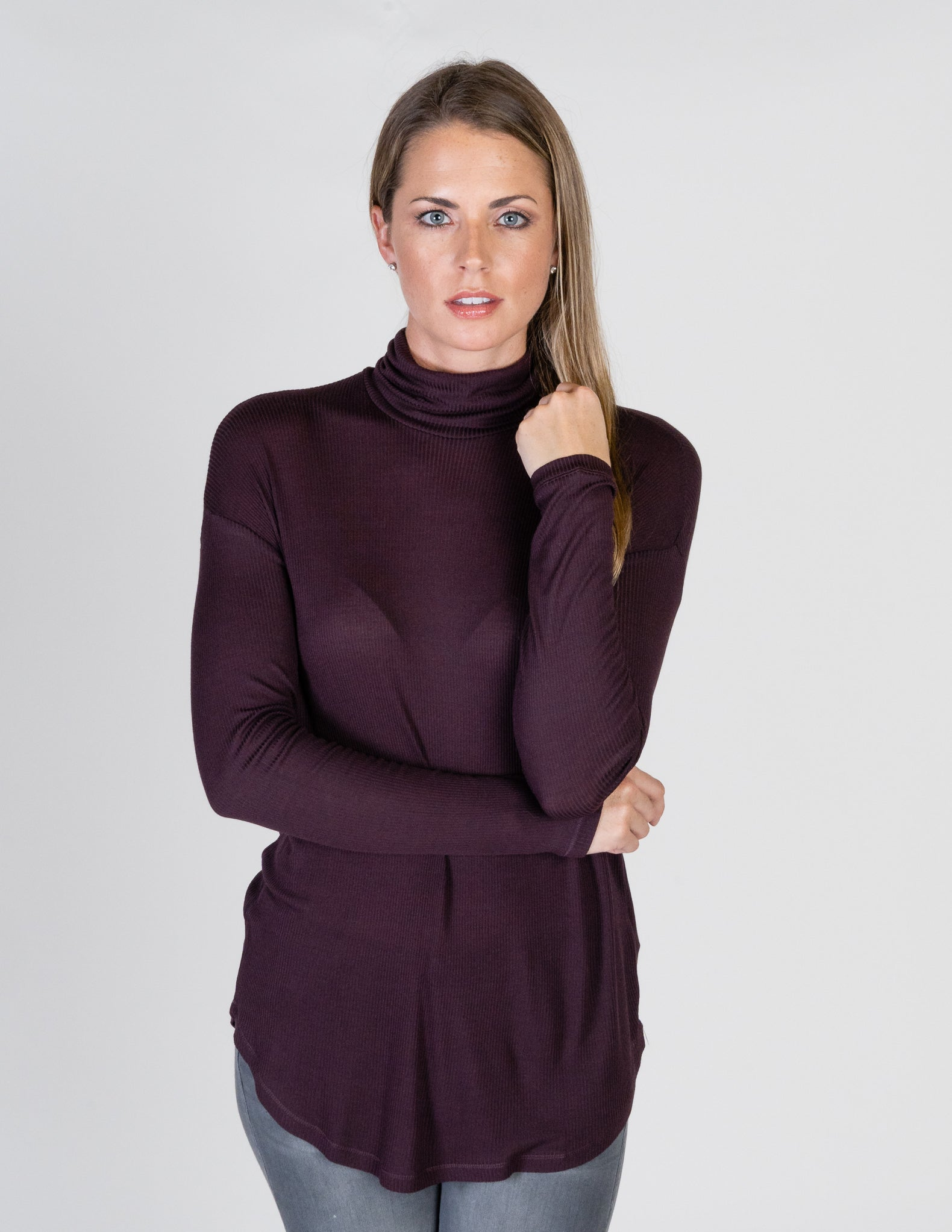 Majestic Viscose Rib Long Sleeve Drop-Shoulder Turtleneck