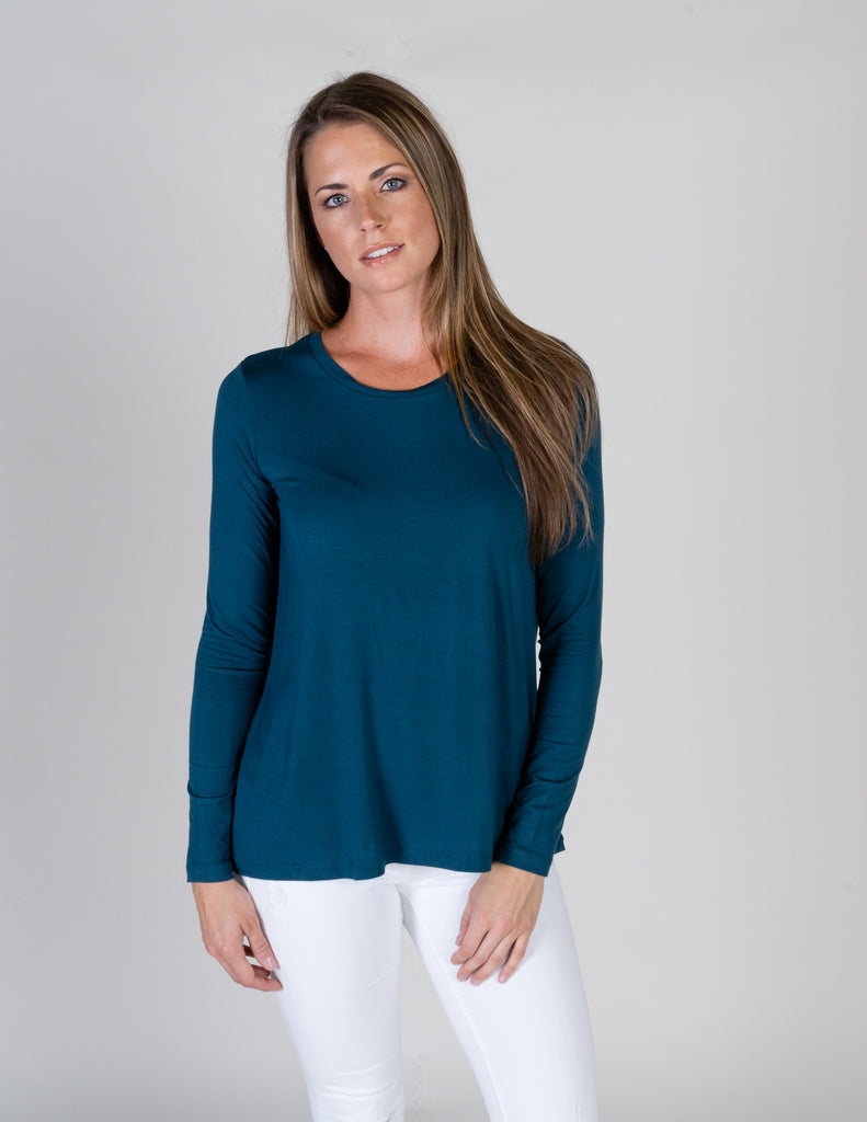 Majestic Long Sleeve Relaxed Crew in Atlantic Blue