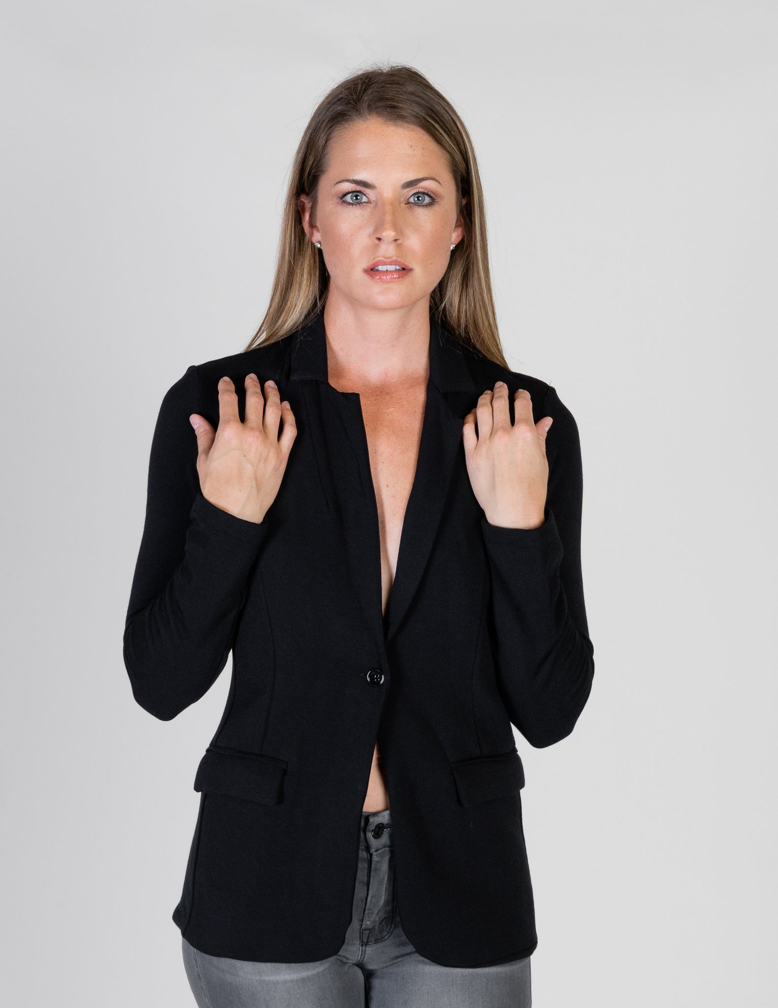 Majestic French Touch One Button Blazer in Black