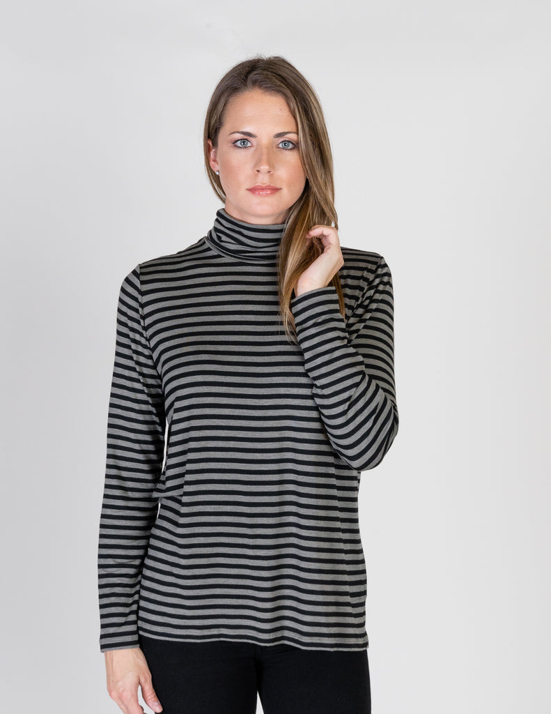 Majestic Long Sleeve Striped Swing Turtleneck in Khaki/Black