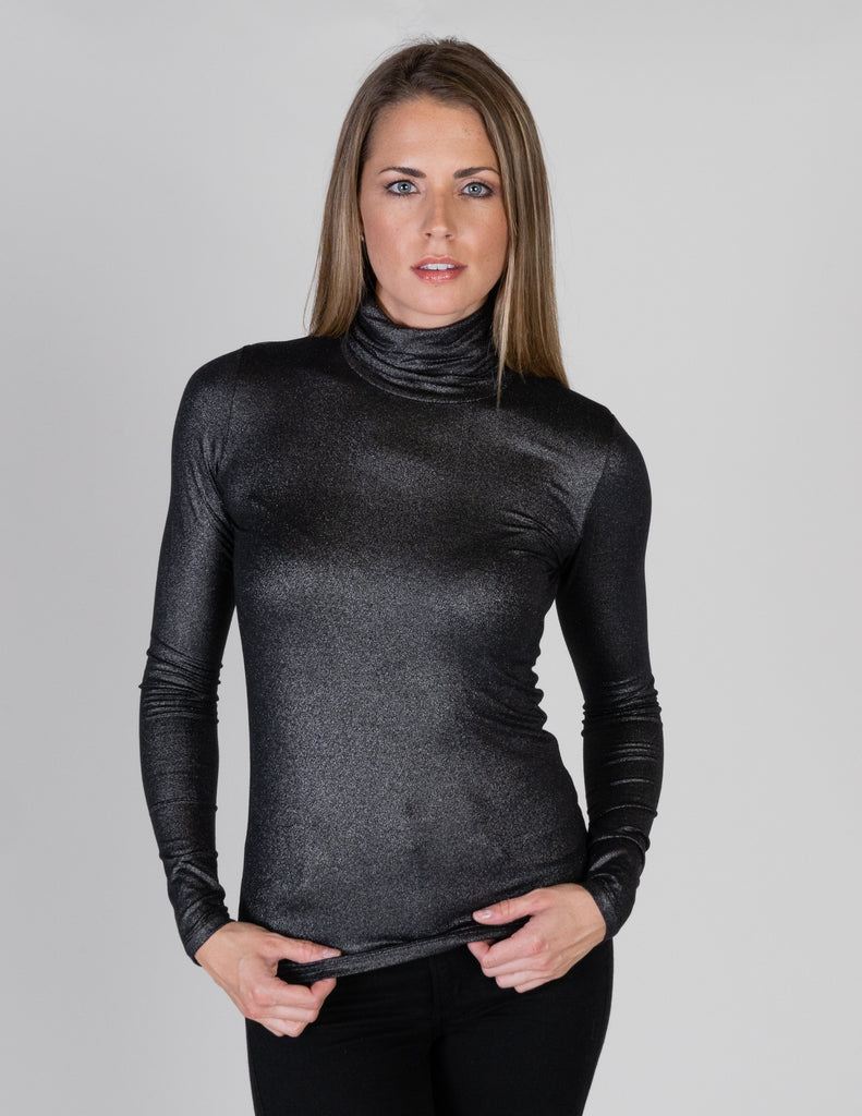 Majestic Metallic Long Sleeve Turtleneck