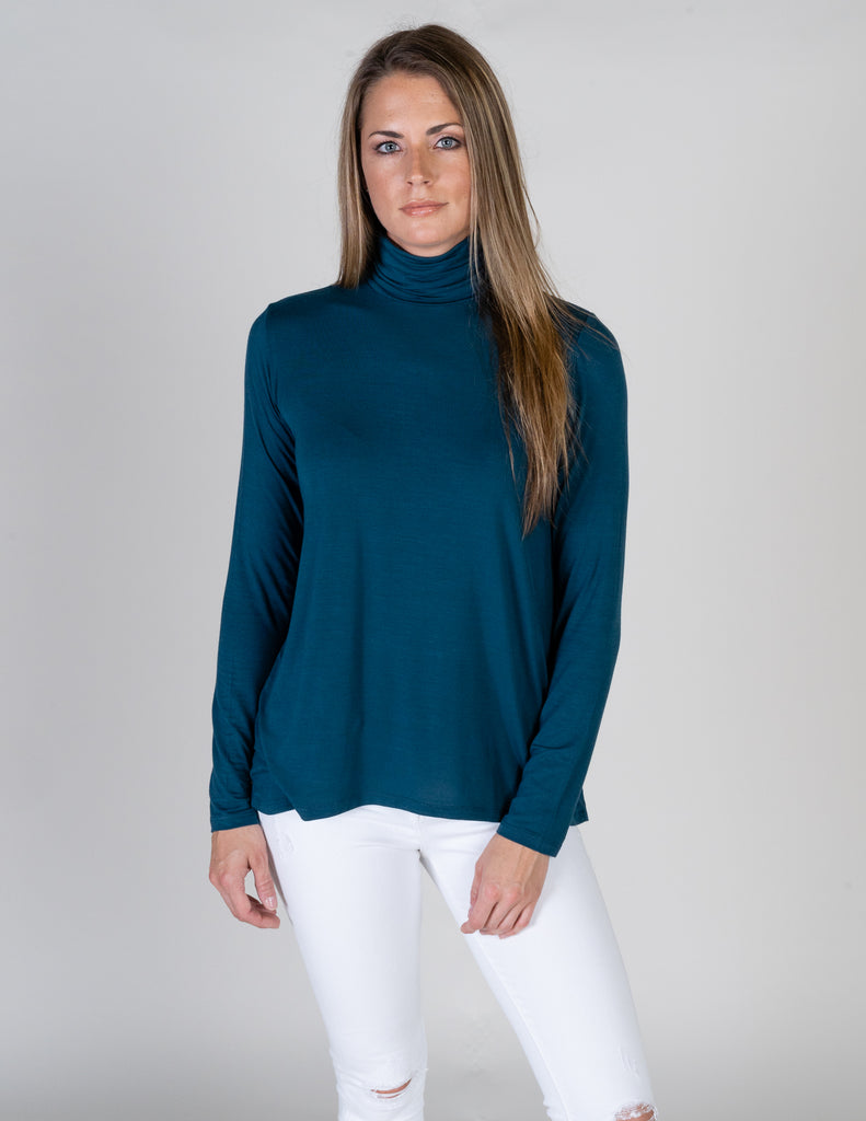 Majestic Long Sleeve Swing Turtleneck in Atlantic Blue