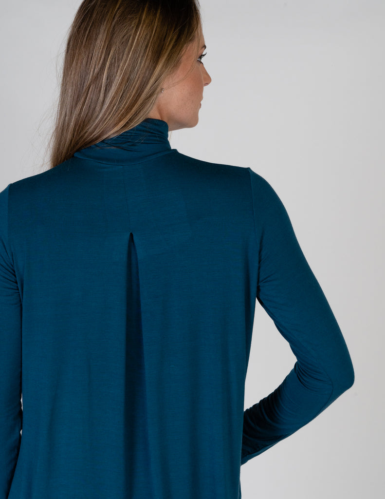 Majestic Long Sleeve Relaxed Turtleneck in Atlantic Blue