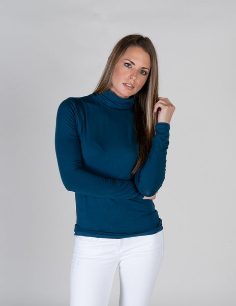 Majestic Long Sleeve Viscose Turtleneck in Atlantic Blue