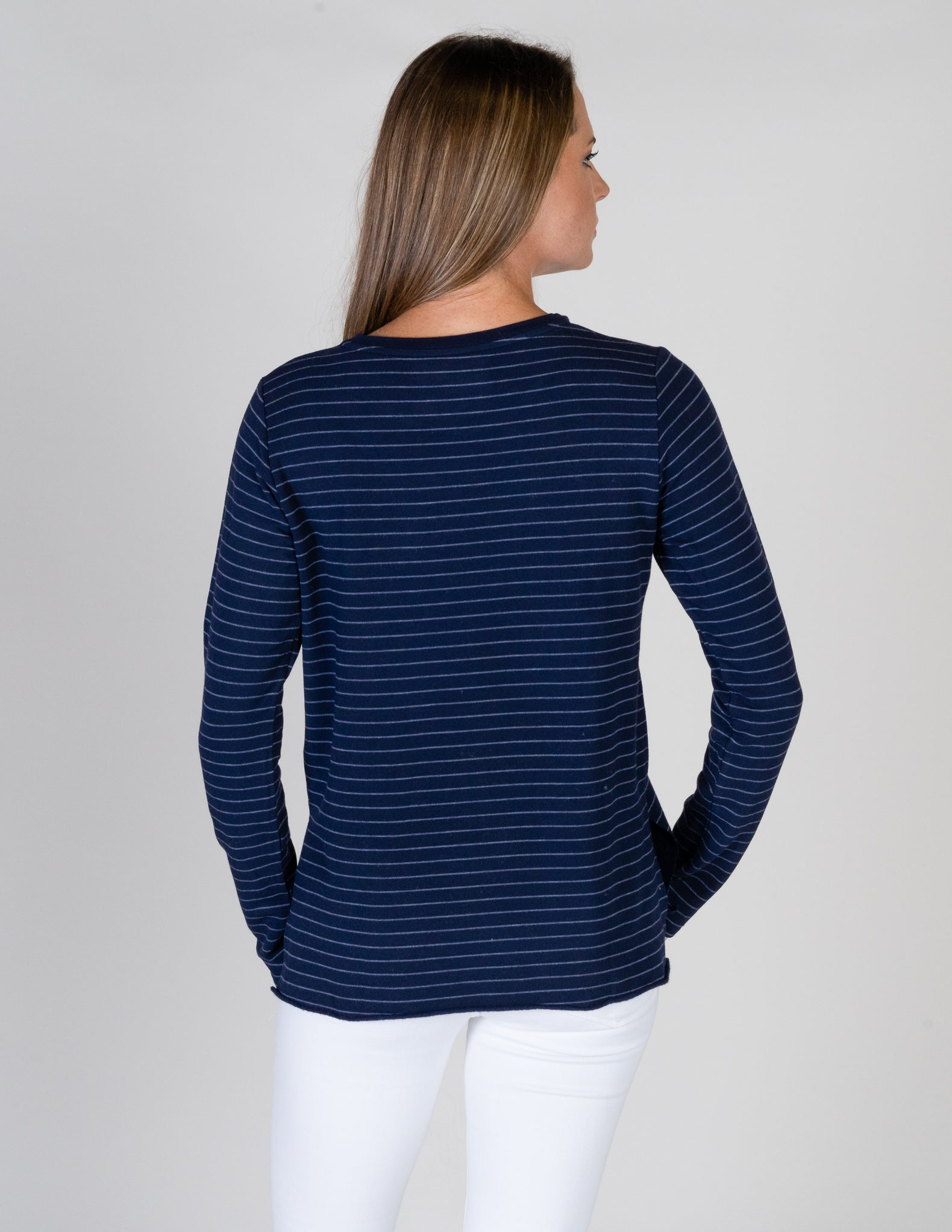 Majestic Long Sleeve French Terry Striped Crewneck in Marine/Denim