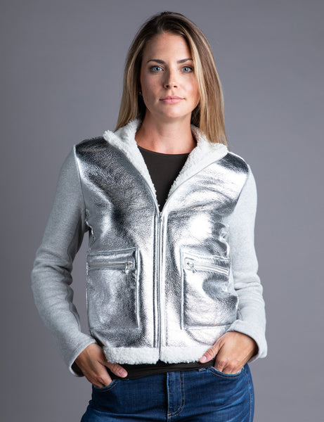 Majestic Metallic Front Leather Jacket