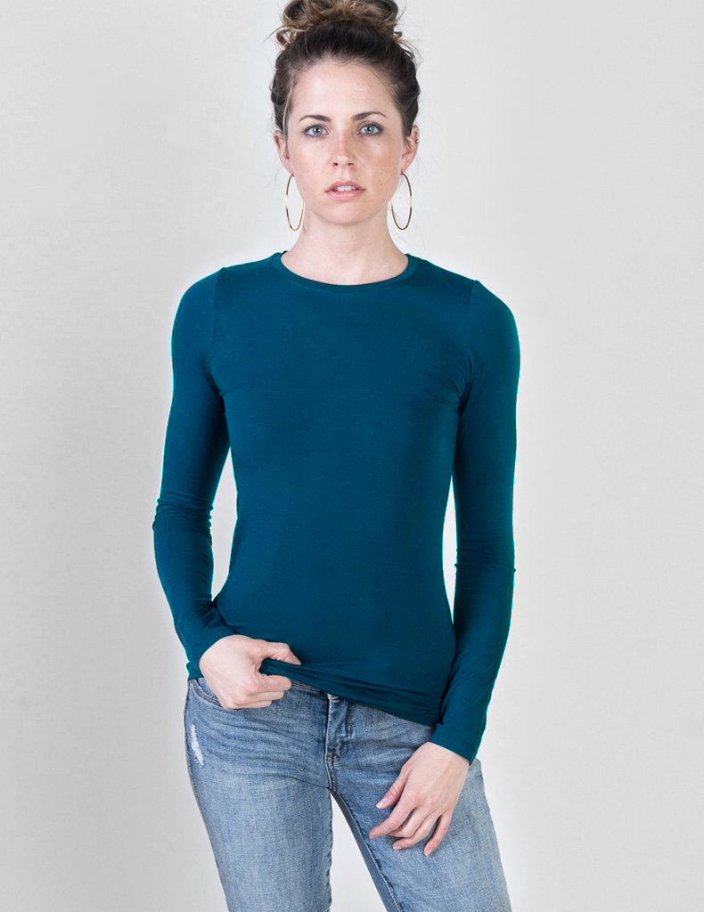 Majestic Long Sleeve Viscose Crewneck in Atlantic Blue
