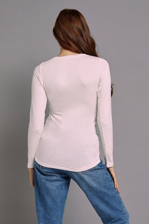 Majestic Long Sleeve Viscose Crewneck in Petale