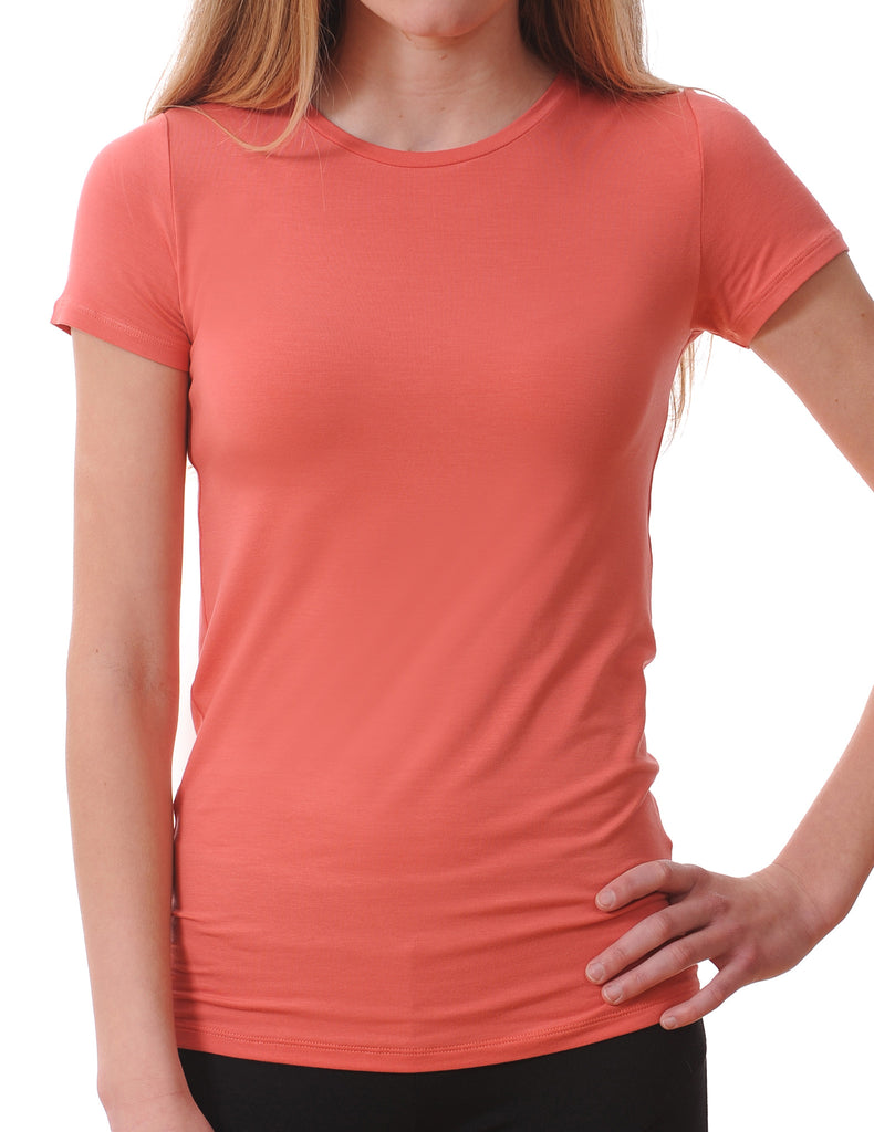 Majestic Short Sleeve Crewneck Tee with Finished Trim in Watermelon