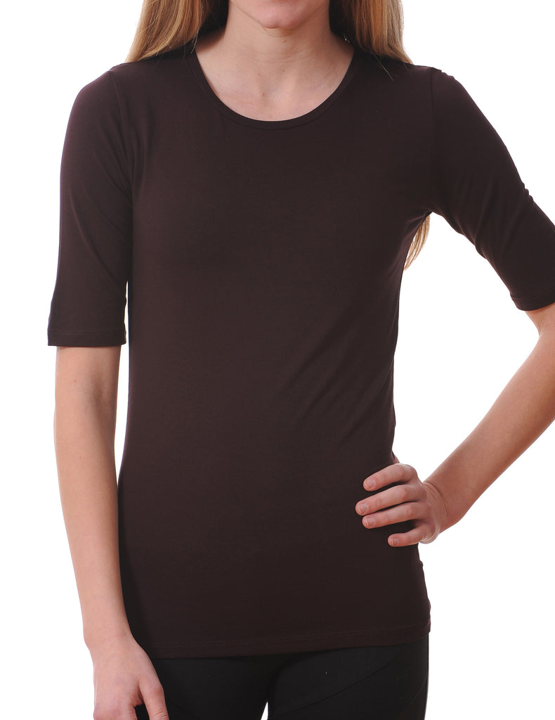 Majestic Elbow Sleeve Crewneck Tee in Aubergine