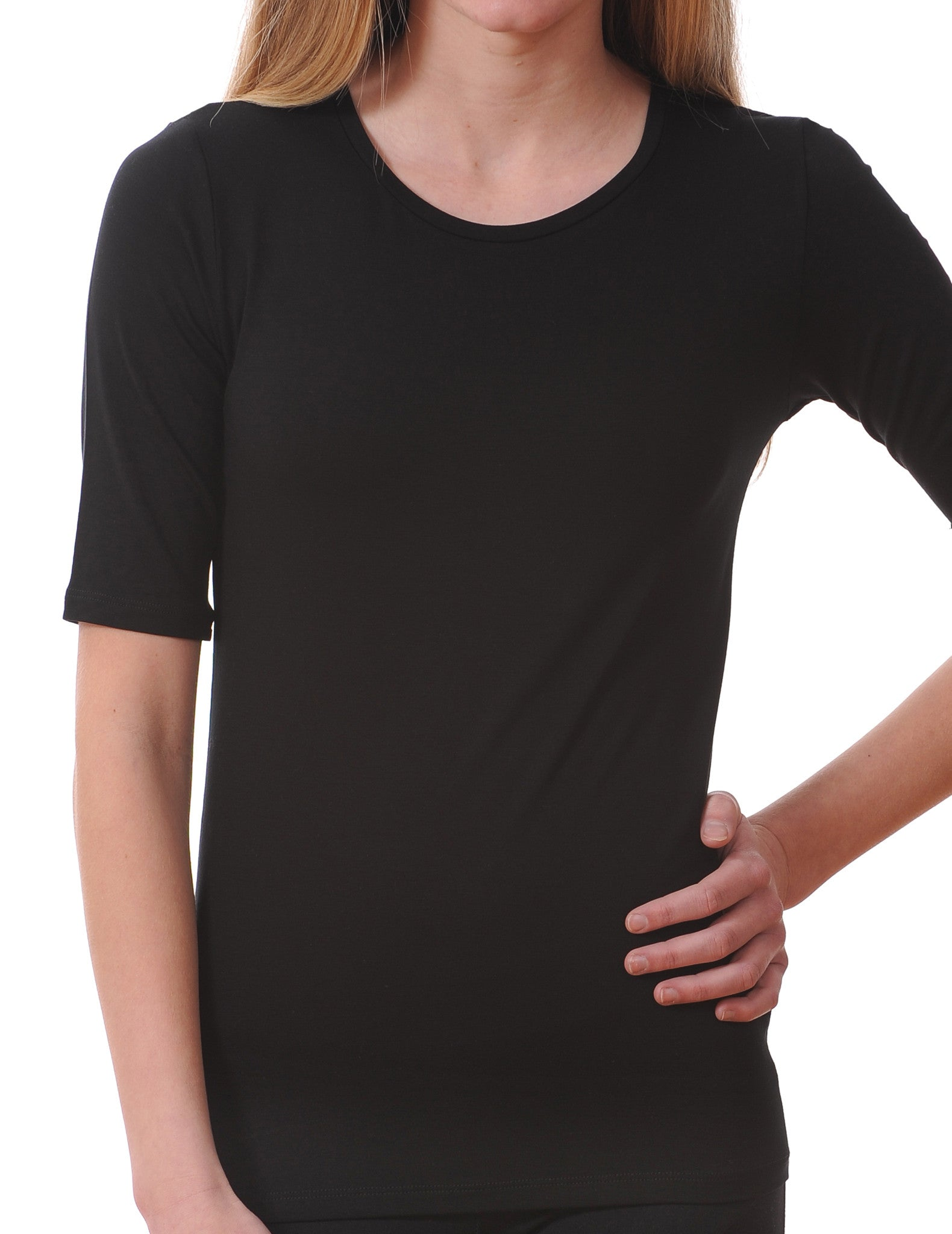 Majestic Elbow Sleeve Crewneck Tee in Black