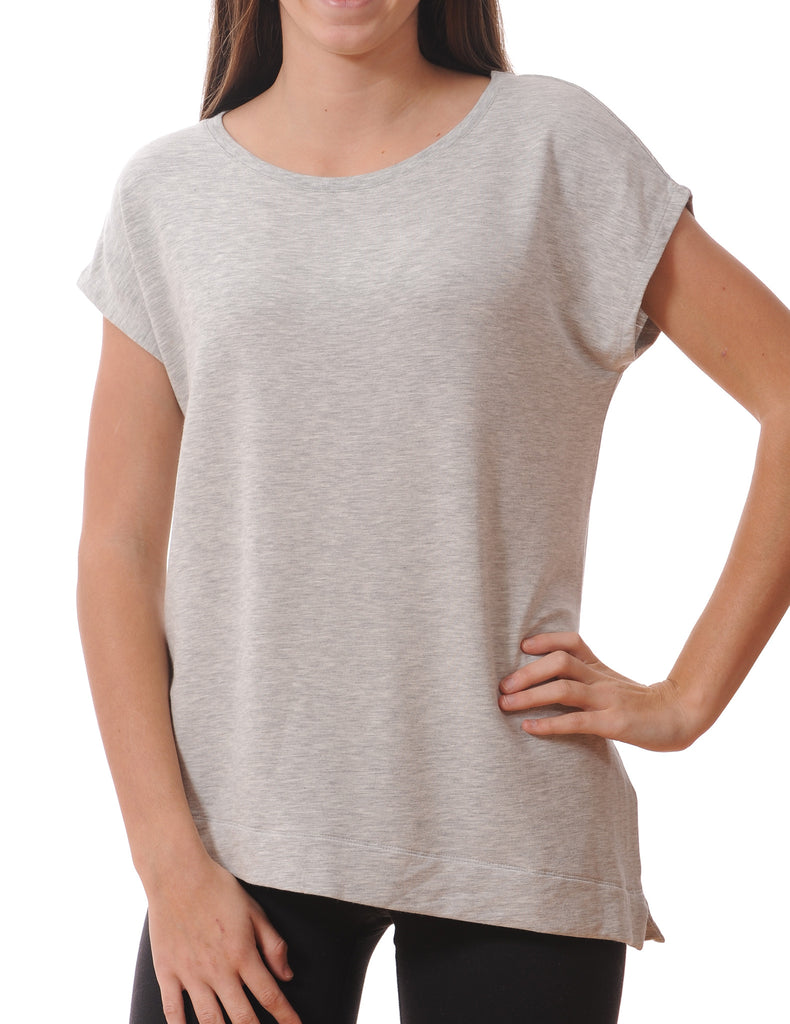 Majestic Short Sleeve Asymmetrical Crew Tee in Grey
