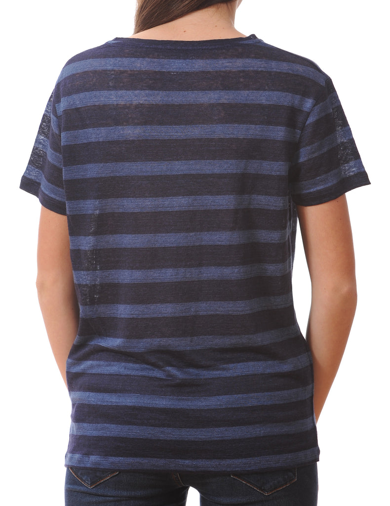 Majestic Linen Short Sleeve Striped Crew in Navy/Light Blue