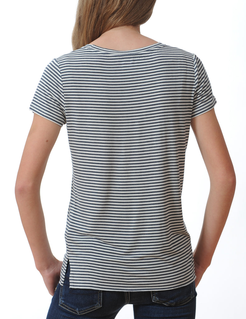 Majestic Short Sleeve Stripe Crew in Milk/Navy Stripe