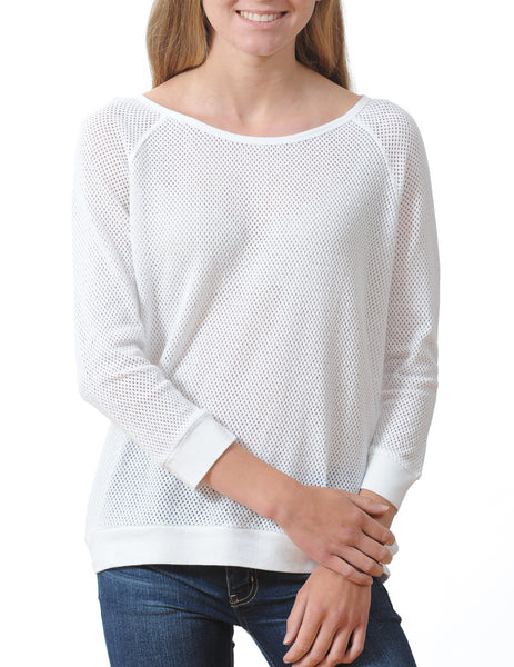 Majestic Perforated Cotton 3/4 Raglan Pullover in White