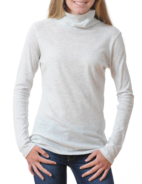 Majestic Long Sleeve Cotton/Cashmere Turtleneck in Oatmeal