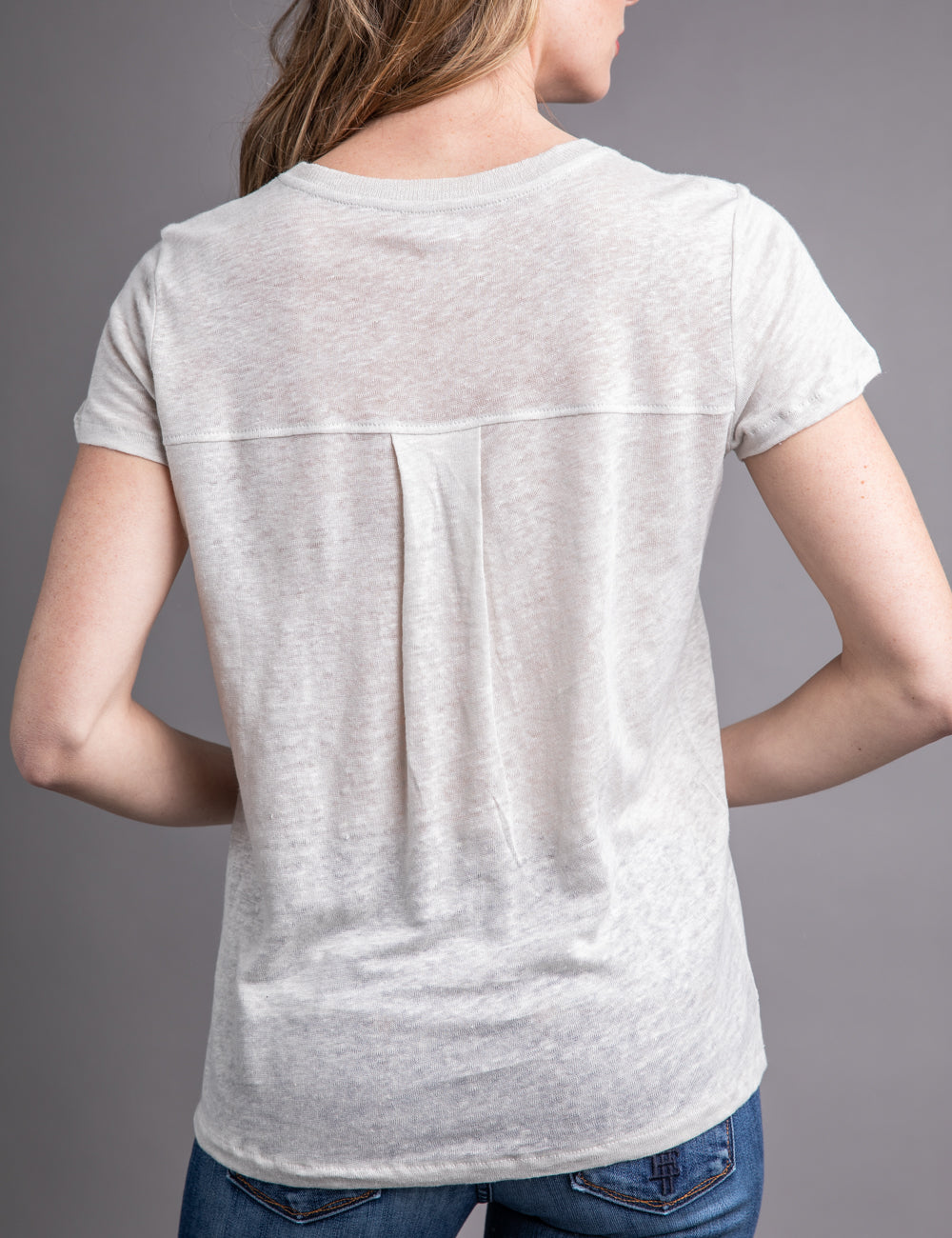 Majestic Linen Short Sleeve Relaxed Crewneck in Grege