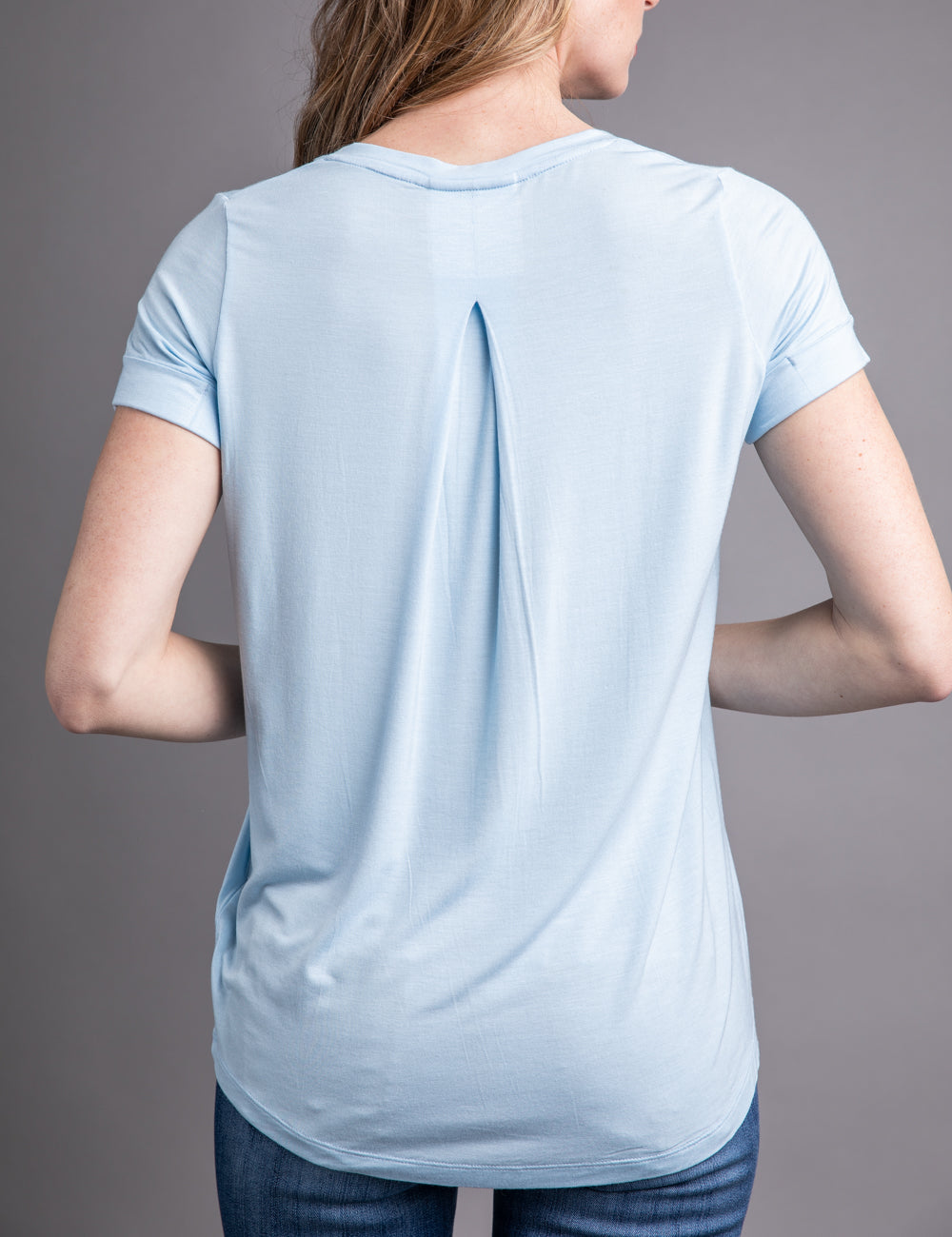 Majestic Short Sleeve V-neck Relaxed Tee in Angel Blue