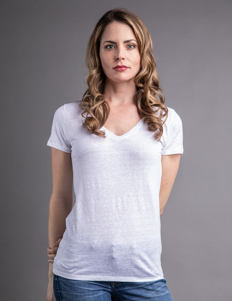 Majestic Linen Short Sleeve V-neck in Blanc