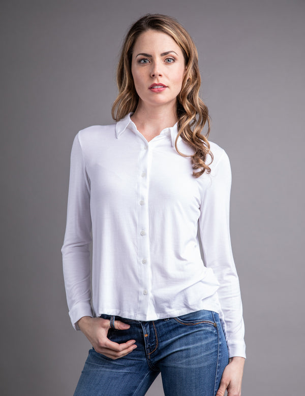 Majestic Long Sleeve Relaxed Button-Down Shirt in Blanc