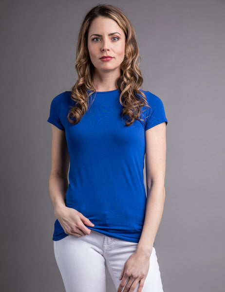 d5645ad28ca5e5 Majestic Short Sleeve Crewneck Tee with Finished Trim in Portofino Blue