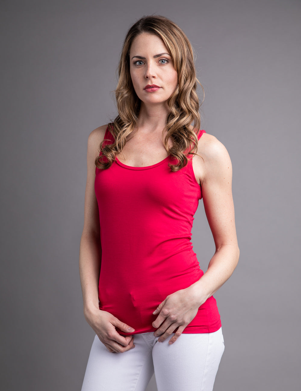 Majestic Flat Edge Scoop Viscose Tank in Cerise
