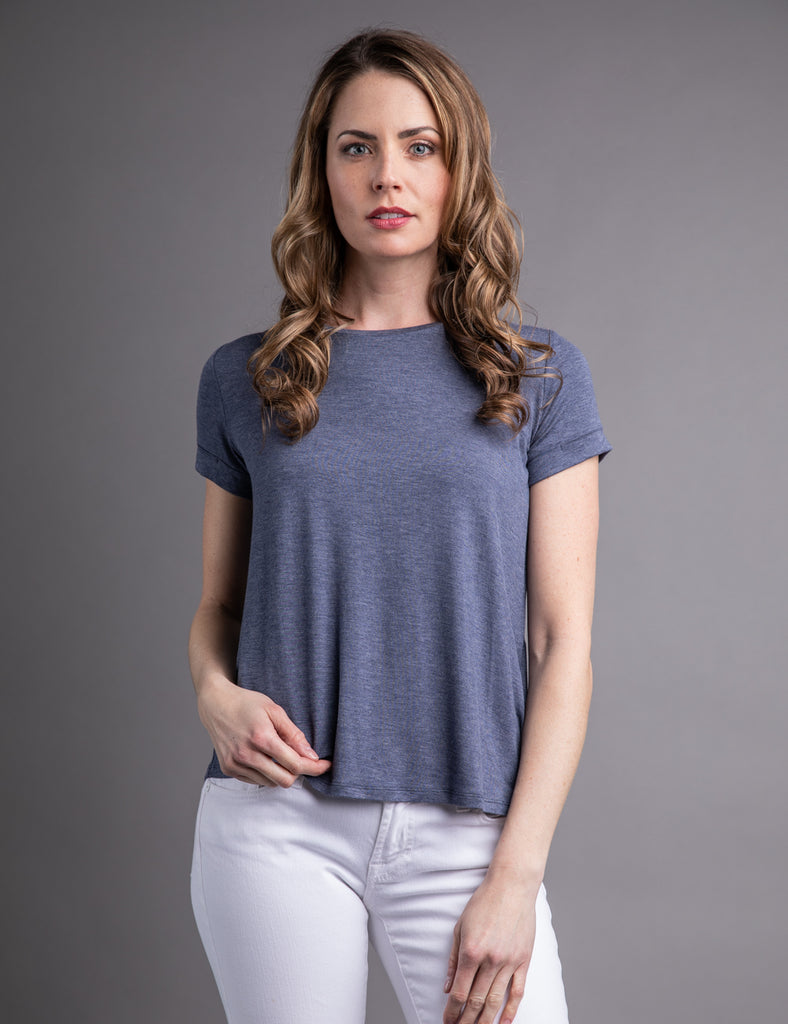 0f85a4b94 Majestic Short Sleeve Crewneck Relaxed Tee in Denim