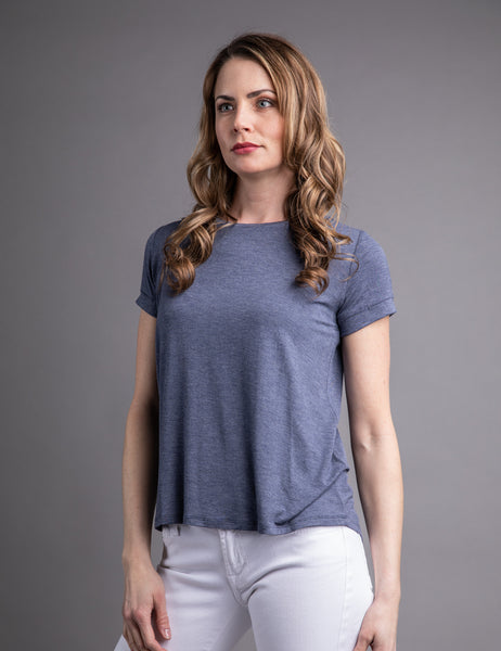 Majestic Short Sleeve Crewneck Relaxed Tee in Denim